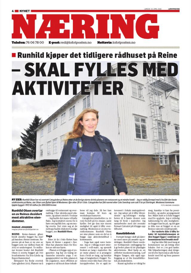 Artikkel Lofotposten: Runhild kjøper det tidligere rådhuset på Reine