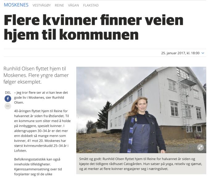 Artikkel Lofotposten: Flere kvinner finner veien hjem til kommunen